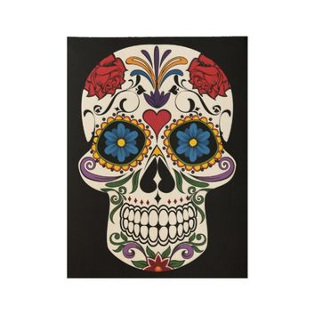 Colorful Sugar Skull Wood Poster