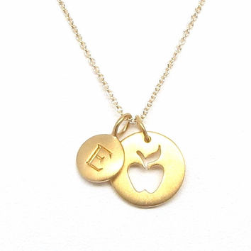 Gold Initial & Apple Charm Necklace