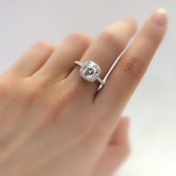 2.40 Carat Center Art Deco Halo Engagement Ring-Cushion Cut Diamond Simulants-Anniversary Ring-Bridal Ring-925 Sterling Silver-R36751