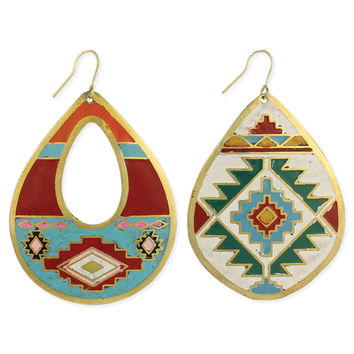 Southwest Print Teardrop Earrings
