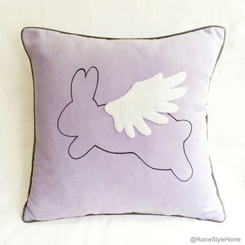 When Rabbit Flys. Flying Rabbit Soft Lilac Decorative Pillow Cover. 16inch Children Room Nursery Decor. Baby Shower Gift. Easter Pillow Case