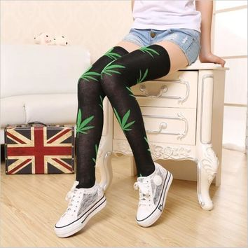 1 pair Brand Leaves Leaf Harajuku Women Lady Girl Thigh High over the knee socks Stocking Stockings