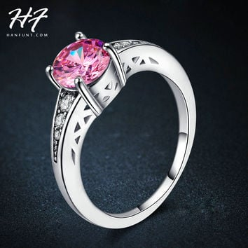 Fashion Wedding & Engagement Women Rings 18K White Gold Plated pink Crystal Bijoux CZ Diamond Ring Jewelry Promise Gift R573