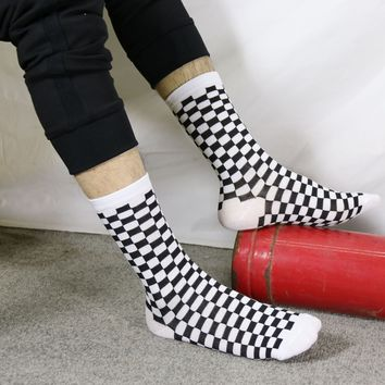 Checkered SOCKS men's women's Pure Cotton White Black Plaid Socks