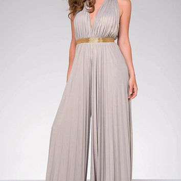 Silver Sleeveless Open Back Flowy Jumpsuit 48601