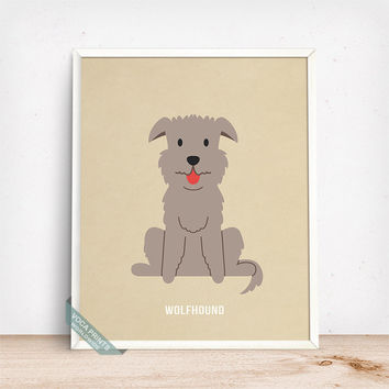 Wolfhound Print, Wolfhound Poster, Dog Print, Dog Breed, Irish Wolfhound, Ireland Dog, Wall Art, Dog Art, Dog Poster, Fathers Day Gift