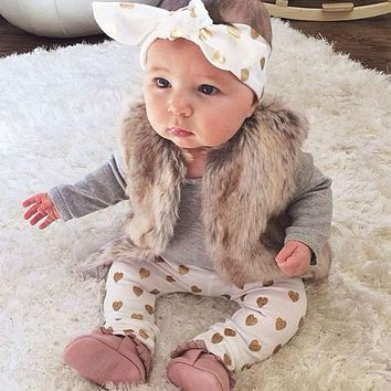 Baby Girl Outfit with Fur Vest Winter Fall Leggings Headband