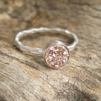 Tiny Rose Gold Druzy Ring Titanium Drusy Quartz Sterling Silver Hammered Band