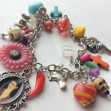 Charm bracelet with dia de los Muertos charms milagros colorful festive casual jewelry