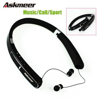 Askmeer Neckband Foldable Bluetooth Headset Wireless Sport Headphones Bass Earbuds Blue tooth Earphone With Mic for Mobile Phone