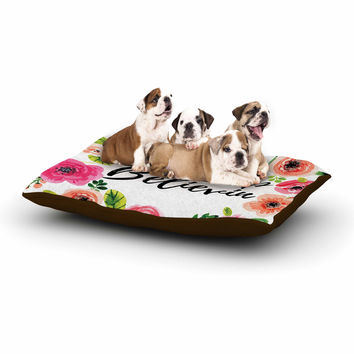 "KESS Original ""Don't Stop Believin"" Coral White Dog Bed"