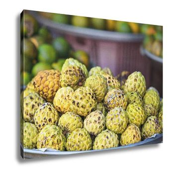 Canvas Traditional Asian Market Hanoi Traditional Asian Fish Market Stall Full Of Fresh Sweetsop Apple 16x20