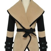 OASAP - Color Blocked Oversized Lapels Self-belted Woolen Overcoat - Street Fashion Store