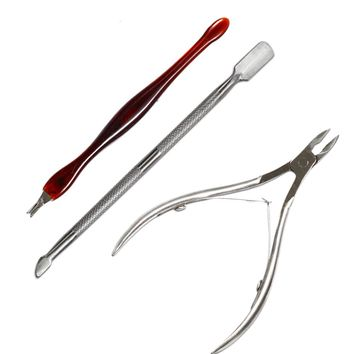 3pcs Stainless Steel Manicure Tool Kit Spoon Pusher Clipper Nipper Dead Skin Cut Nail Art Nail Scissor Fork Removal Tool LANC385
