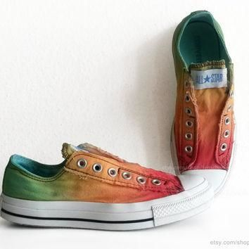 Red, orange and green ombre dip dye All Stars, tricolour slip-on Converse, upcycled vi