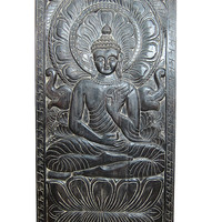 Hand Carved Buddha Wall Panel Buddha in Vitarka Mudra Architectural Wall Sculpture