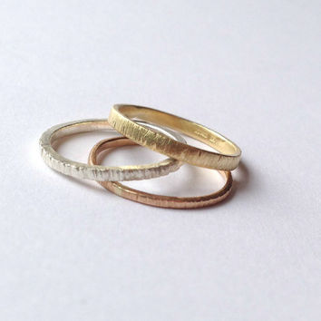 Set of Three Tree Bark Rings - Stacking Set - 18 Carat Rose & Yellow Gold - Sterling Silver - Thin Rings Trio - Tri Tone - Friendship Family