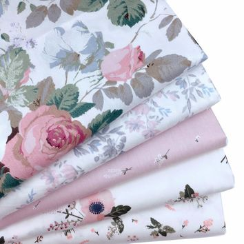 Half Meter 100% Cotton Fabric Diy Sewing Handmade Needlework Home Textile Material Telas to Patchwork Floral Printed Tissue