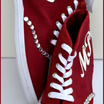 Painted Shoes, Monogram Shoes, Personalized Shoes, Custom Womens Shoes, Custom Girls Sneakers, Red Monogram Sneakers, Custom Vans, Monogram