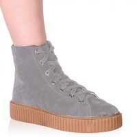 Iyla Hi Top Creepers in Grey Faux Suede and Gum Sole
