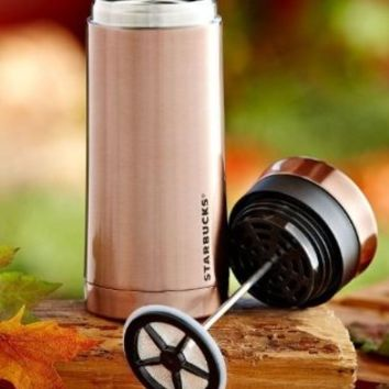 Starbucks Stainless Steel Travel Press - Rose Gold, 10 fl oz (011028166)