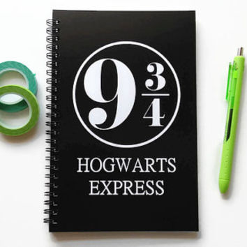 Writing journal, spiral notebook, sketchbook, bullet journal, black white, blank lined grid, Harry Potter, platform 9 3/4- Hogwarts express