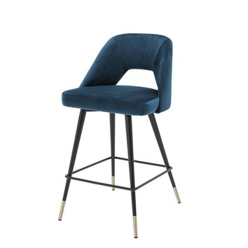 Blue Velvet Counter Stool | Eichholtz Avorio
