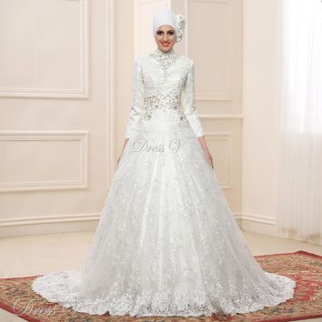 Lace Ball Gown Long Sleeve Muslim Wedding Dresses Hijab 2017 Vintage Bridal Gown High Neck Islam Chapel Train Plus Size Kaftan