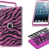 COMBO! Jersey Bling® Zebra Hybrid 2 Piece Fusion, Protector, Defender Ipad Mini Case Cover with 1 Stylus Touch pen (Black with HOT Pink)