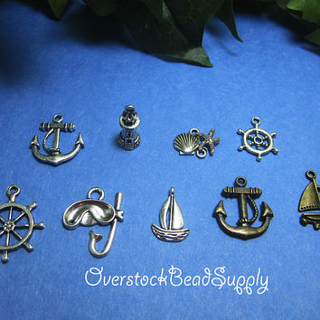 Nautical Charm Collection Charm Mix Sailboat Swim Mask Lighthouse Anchor Ships Wheel Scallop Starfish Connector Charms 9 Pieces 9033