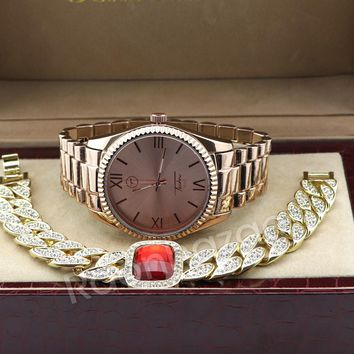 Iced Out 14K Rose Gold Watch Iced Out Ruby Cuban Chain Bling Bracelet Set G54