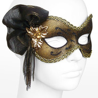 Black And Gold Shimmering Masquerade Mask  - Venetian Style Prom Mask  With  Gold Beads And Glitter Embellishments