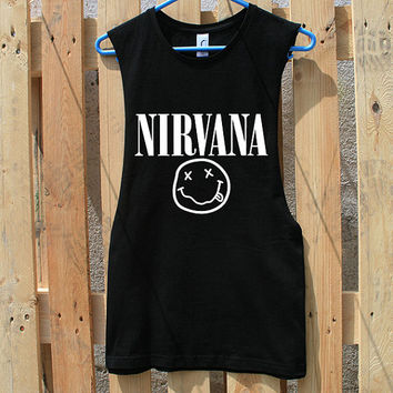 Nirvana Smiley Face Tshirt Tank Top T shirt S M L XL