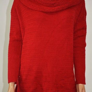 Style&Co Women's Cowl-Neck Wool Blend Red Knit Tunic Sweater Top M