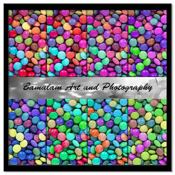 Candies Digital Paper, Colourful Candy Scrapbook Download, Bright Rainbow Sweets Printable Watercolour Scrapbooking