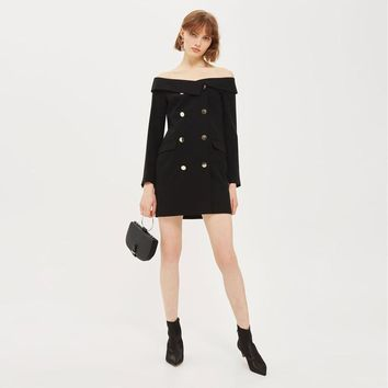Sexy off the shoulder double-breasted long sleeve slash  woman's Casual dress