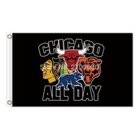 Chicago City All Team Flag Blackhawks Cubs Bears Bulls Flag 3X5FT Chicago All Day Flag World Series Banners