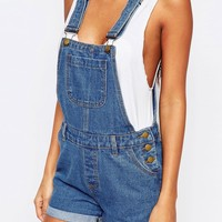 Boohoo Short Denim Dungaree at asos.com