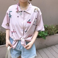 Women's Shirts Kawaii Ladies Vintage Sweet Japan Retro Digital Cherry Print Shirt Female Korean Punk Harajuku Clothing For Women
