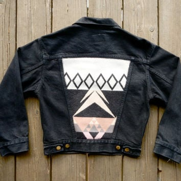 Vintage Hand Dyed Black Denim Levi's Jacket with Pink / Tan Jaquard Pendleton Back.