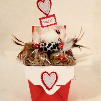 Valentines Day cat or ferret treat basket with toys, unique gift, birthday, personalized, cat nip, red, hearts