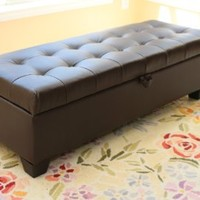 Home Life Mission Brown Tufted Leather Storage Ottoman Bench
