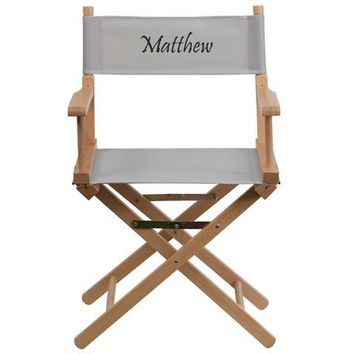 Personalized Standard Height Directors Chair in Gray