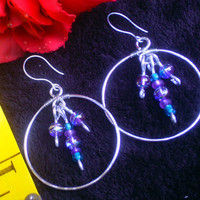 Purple Swirly Beads Hoop Dangle Earring