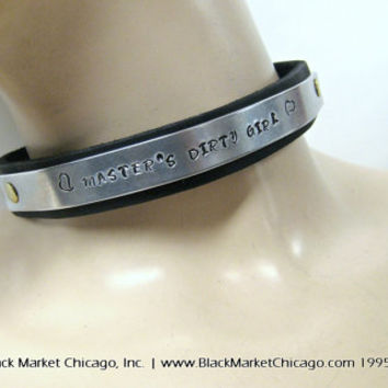 Slave Collar Personalized ENGRAVED for BDSM Submissive Leather with Metal Choker Locking with Padlock