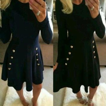 ESBC8S Navy Blue Plain Draped A-line Buttons Double Breasted Elegant Cute Mini Dress