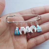 Happy teeth brooch jewelry, handmade gift for dentists