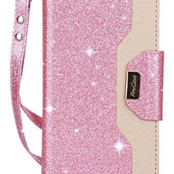 ProCase iPhone X Wallet Case, Flip Kickstand Case with Card Slots Mirror Wristlet, Folding Stand Protective Cover for Apple iPhone X/iPhone 10 (2017 Release) -Glitter Pink