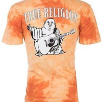 Licensed Official TRUE RELIGION Mens T-Shirt TIE DYE BUDDHA Orange $79 Jeans NWT