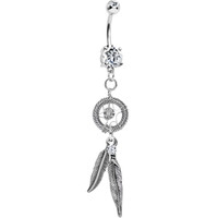 Handcrafted Feather Dangle Dreamcatcher Belly Ring | Body Candy Body Jewelry